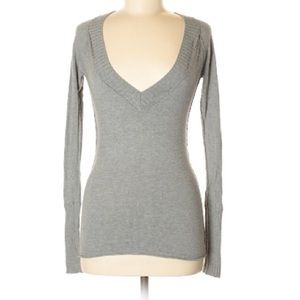 American Eagle Gray V-Neck Sweater